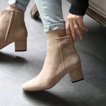 Japan autumn winter 2017 simple Yang Jing new nubuck leather chunky heels booties boots small Martin short tube boots woman