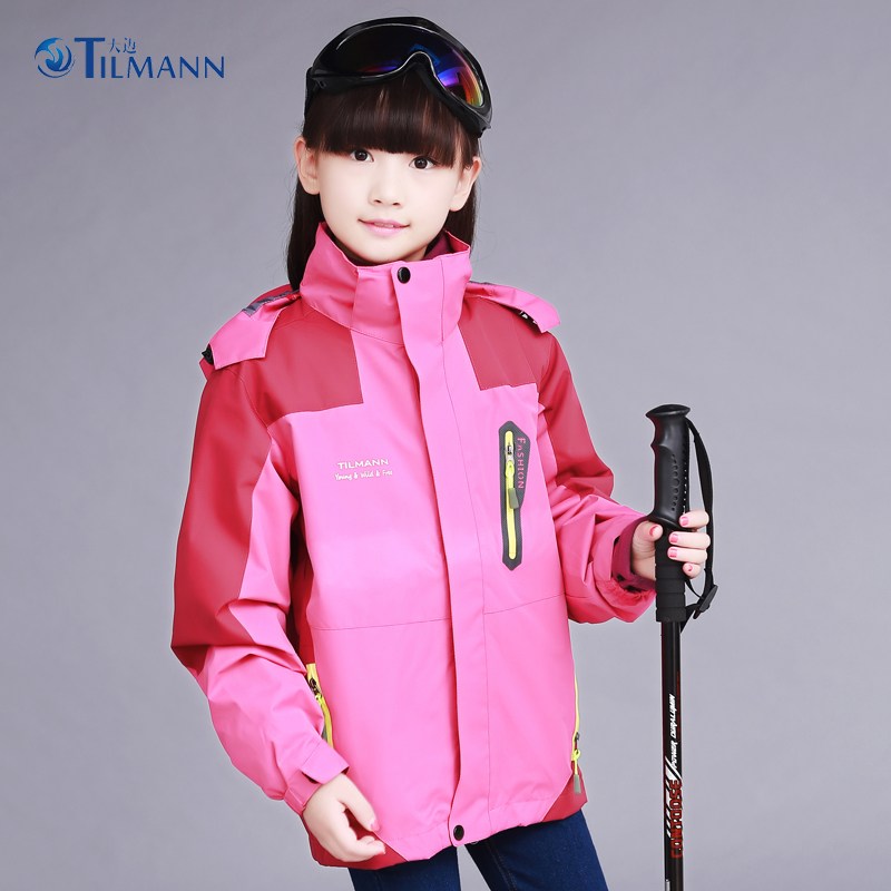 Tianmai children's stormwear girl's autumn and winter jacket three in one children's outdoor stormwear two sets for children