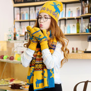 Korean winter warm wool knitted scarf and hat three suit collar woman one birthday gift