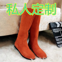 2020 Spring Autumn Boots Matte Boots Turn Fur Leather Boots Pull Red Custom