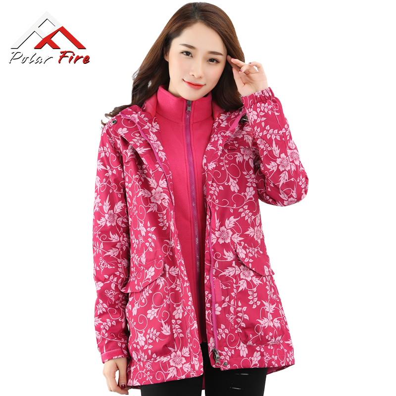 Polar fire outdoor jacket ladies winter three-in-one two-piece suit plus velvet thick detachable long coat