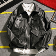 Autumn thin Leather Slim Korean men's young male locomotive handsome short jacket size fashion jacket