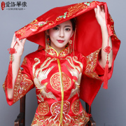 Ailuohuayi bride married the Red Veil like covering yarn like Chinese embroidery, satin scarf Pak Meng wedding veil