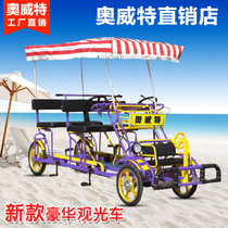 Aowit luxury four-wheel sightseeing car four parent-child bicycle single row double Couple Family Tour rental