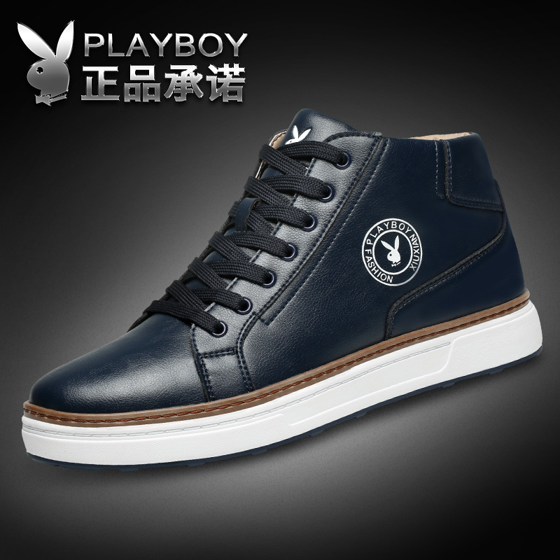 Playboy men's shoes winter new sports shoes plus velvet warm cotton shoes men's casual British high boots