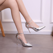 2017 new spring summer evening bride small fresh female high-heeled shoes with a fine pointed all-match Korean silver shoes