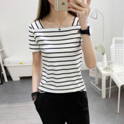 2017 new summer short sleeved striped t-shirt female Korean tide slim slim collar sexy all-match jacket