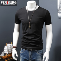 Mercerized cotton modal summer slim mens solid color t shirt