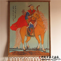 Mongolian felt painting featured crafts color Genghis Khan riding portrait hand-drawn Inner Mongolia felt painting