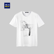 HLA/ sea orchid house, ink print short sleeve T-shirt, 2017 summer new white T-shirt, male