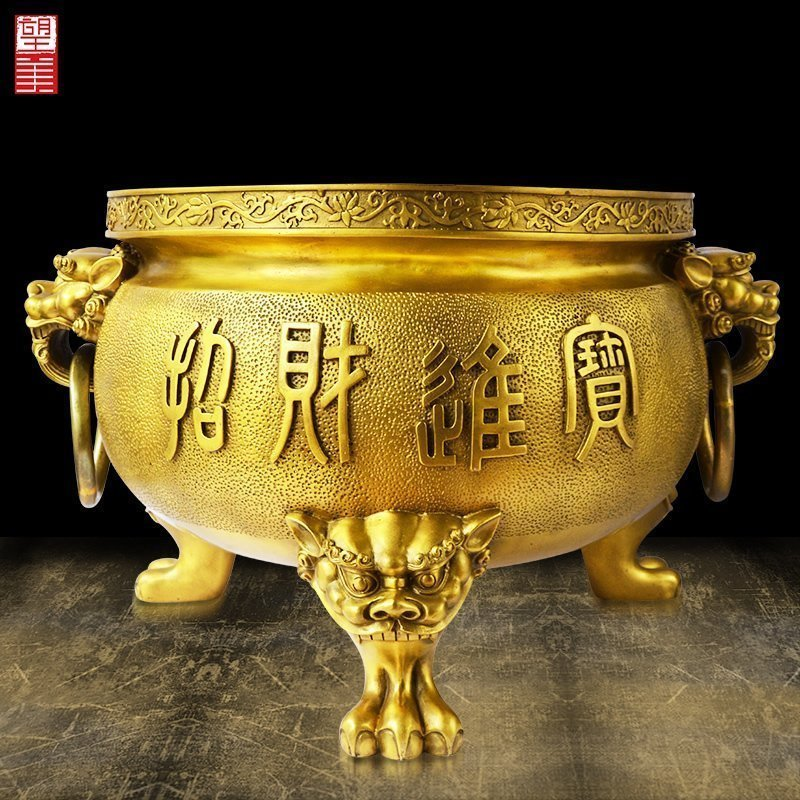 Wangmei copper incense stove pure copper Sanzu Xuande stove recruits wealth and enters treasure family's living room Buddhist furnishings with antique large size
