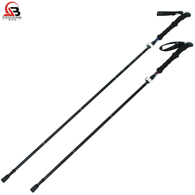 Jungle Leopard outdoor folding lock trekking pole Folding stretchable trekking pole light lock trekking pole