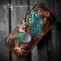 Kurayoshi handmade wallet long mens zipper bag vegetable tanned leather cowhide carving lucky fish skin carving hand grip bag fiscal cloth