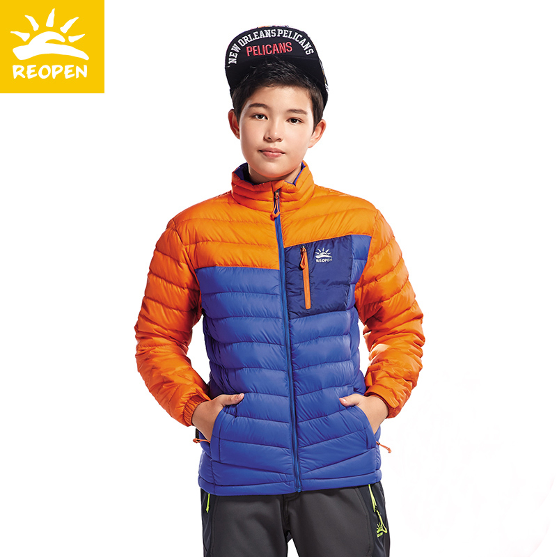 Sunstone Children's Outdoor Down Clothes Children's Thin Down Clothes Light Boys'Winter Warm Adolescent Coats