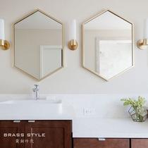 Brass Nordic hexagonal mirror bathroom mirror cosmetic mirror dressing mirror toilet bathroom decoration mirror spot Special price