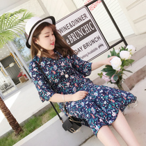 Burrito size summer fresh and floral dress new small hotel Beach flowing chiffon skirt dress
