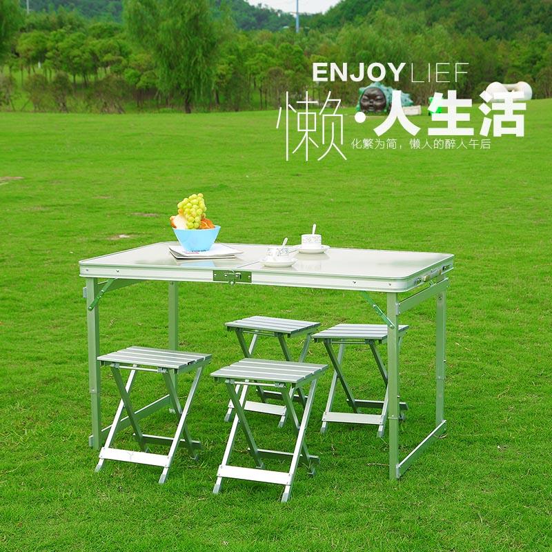 Folding tables and chairs integrated field ultra light suit car outdoor combination driving self-help portable picnic table