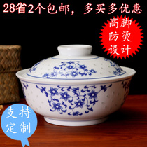 Custom Jingdezhen glaze under the colorful green flower Lingling porcelain bowl cover bowl ceramic with cover bubble noodle bowl soup bowl can microwave life bowl.