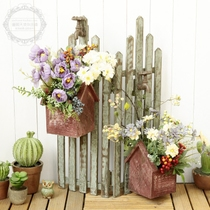 American countryside Retro wooden fence flower indoor balcony outdoor garden courtyard multi-meat floret box Furnishings