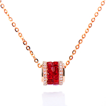 Natural pigeon blood ruby necklace 18K rose gold fashion 100 diamond pendant collarbone female genuine