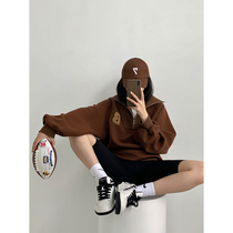 HONORE ancient moon retro atmosphere full of American POLO collar embroidered sweater loose stripe stand neck top