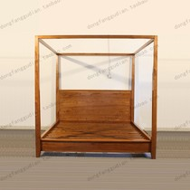 Retro simple double bed solid wood pillar bed model room drapery bed new Chinese shelf bed theme marriage bed YT12