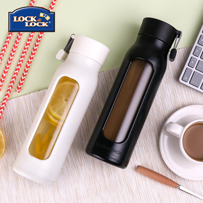 Korean version of Korean cup for female students. Household portable glass for men. Simple transparent and creative water bottle