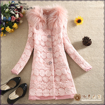 Pink Mary wind 2015 winter dress Shoppe in genuine fox fur collar lace long woolen coat