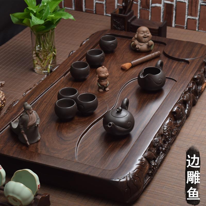 整块黑檀木茶盘实木原木家用茶台 大号红木茶海 简约排水功夫茶具