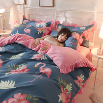 Princess Wind Bed four-piece set of thickened grinding wool knitted cotton lotus leaf side quilt 1.5 1.8m bed linen
