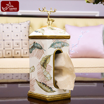 American modern Light Luxury roll tissue box European creative personality decoration living room dining drawer home decorations