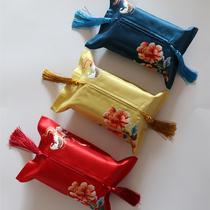 简奢中式绸缎刺绣纸巾套仿手绣花蝶定制礼品布艺客厅家居车载直销