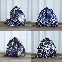 Style japonais et japonais Sac À lunch coton lin sac portable faisceau boîte à lunch sac en tissu ensemble avec frais boîte sac