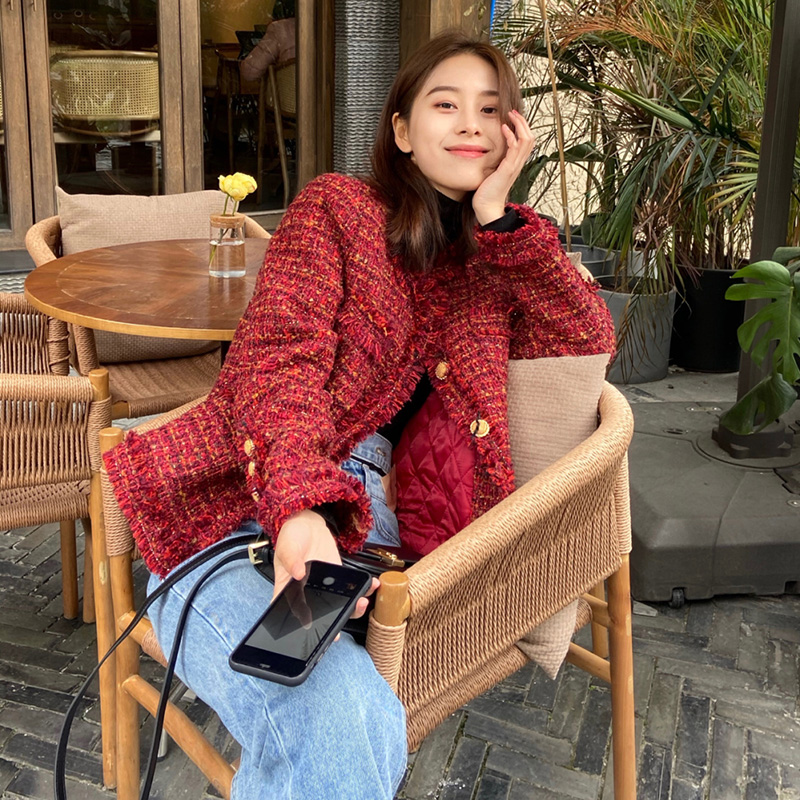 New Years Day red small fragrant flowers short coat Korean version of loose 2020 autumn and winter new womens clothing