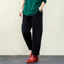 棉麻素衣大码高端女装新款简约文艺好穿着好品质松紧腰棉质休闲裤