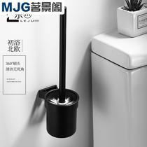 Noir espace en aluminium Matériel Pendentif salle de bains wc propre brosse de toilette porte-gobelet de toilette toilettes lavage rack de stockage