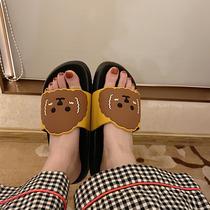 Тонкие полоски милый мультфильм тапочки женщины лето плоское дно открытый носить крытый нескользящая ванна студент японский и корейский INS ветер прохладный перетащить