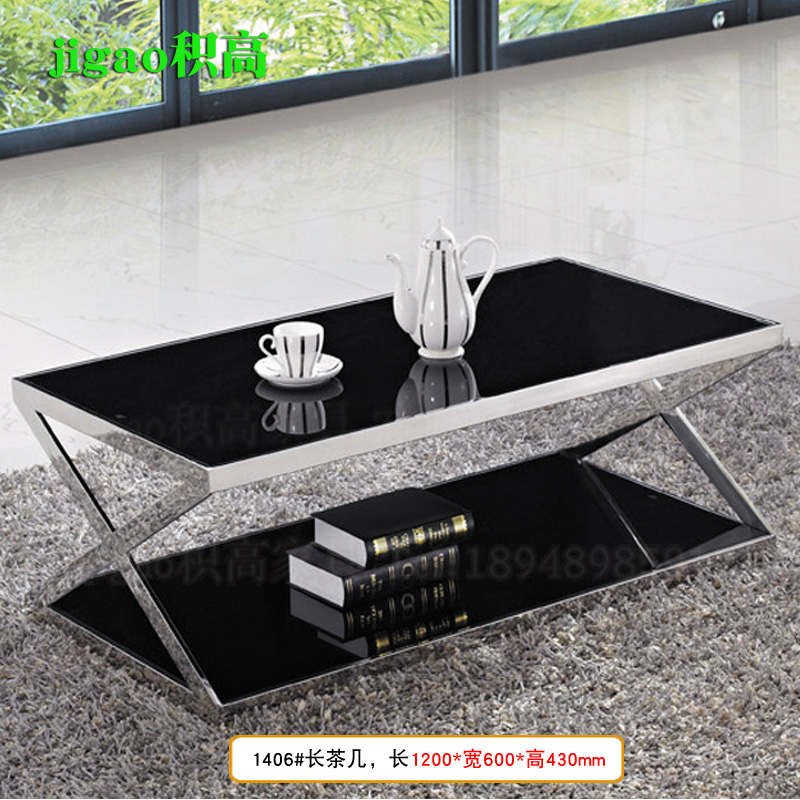 Accumulated high furniture modern tempered glass stainless steel office coffee table guest meeting coffee table a few corners 1406