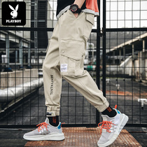 Playboy pants mens Korean version of the trend of autumn and winter spring beam feet overalls Tide brand loose ins casual pants