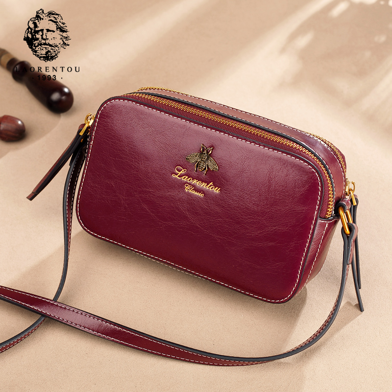 Old man head bag female 2018 new shoulder messenger bag leather camera bag small bee port wind retro small square bag