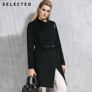 SELECTED thread wool collar type stereo ladies long wool coat 416127003