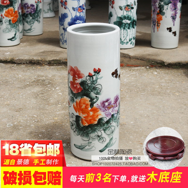 Ceramic Handpainted vases, porcelain wares, paintings, paintings, cylinders, paintings, cylinders, ornaments, living room, restaurants, decorative arts and crafts.