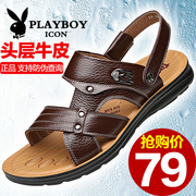 Playboy men's sandals, leather casual beach shoes, 2017 new anti slip summer shoes