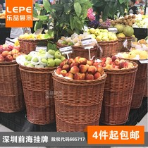 Happy fruit promotional rack supermarket shelves convenience store baskets rattan raw fresh fruits and vegetables round display preparation display
