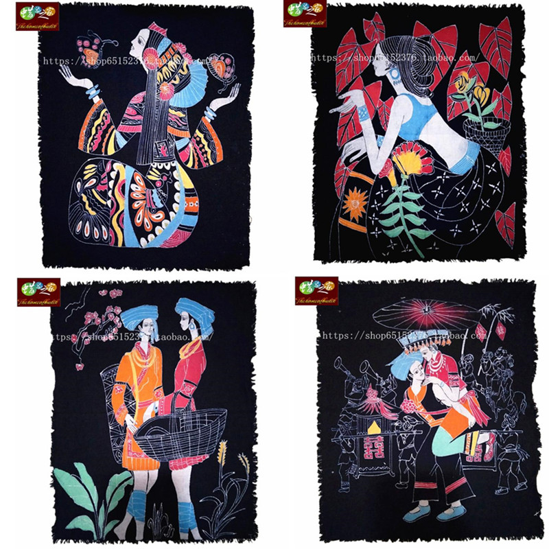 Batik Painting Guizhou Miao Nationality Handmade Batik Dyeing Ethnic Characteristics Batik Decoration Wall Hanging Decorative Painting on Various occasions