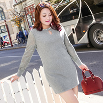 Msshe stretch lace stitching sleeve knitted sweater