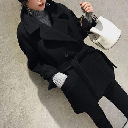 Hepburn wind double-sided cashmere coat womens autumn winter 2020 new Korean version loose medium-length version of the belt wool coat