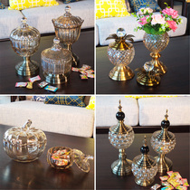 European Crystal glass candy tank with cover sugar can home decoration coffee table Candy plate Decoration creative storage tank