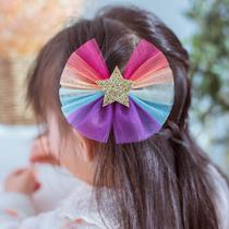 Корея импортировала высококачественные детские аксессуары для волос для девочек Радуга лук заколка для волос принцесса милый ребенок фантомные боковые зажимы