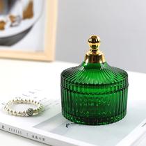 Nordic retro dark green crystal glass storage box embossed jewelry box candy box bracelet jewelry box cosmetic box